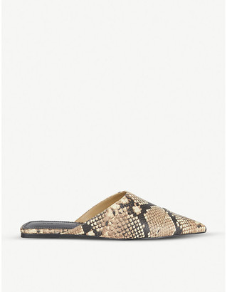 Who What Wear Davidson snakeskin-print leather mules