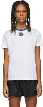 Prada White and Blue Ribbed Collar T-Shirt