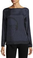 Rani Arabella Headphones-Print Pullover Top, Black/Gray