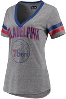 G Iii Women's G-III 4Her by Carl Banks Gray/Royal Philadelphia 76ers Walk Off Crystal Applique Logo V-Neck T-Shirt
