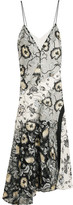 Self-Portrait Nivienne Embroidered Tulle And Printed Crepe De Chine Dress - Gray
