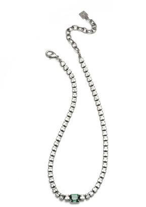 Dannijo Kitty Tennis Necklace, Green/Silver