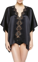La Perla Petite Macrame Wide & Short Black Satin Silk Night Robe