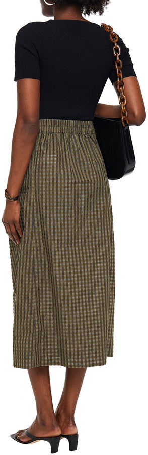 Thumbnail for your product : Ganni Knotted Gingham Seersucker Midi Skirt