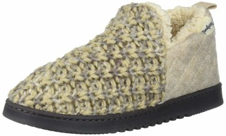 Dearfoams Women's Textured Knit and Microwool Bootie Slipper