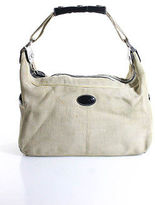 Tod's Tods Beige Woven Leather Trimmed Medium Shoulder Handbag
