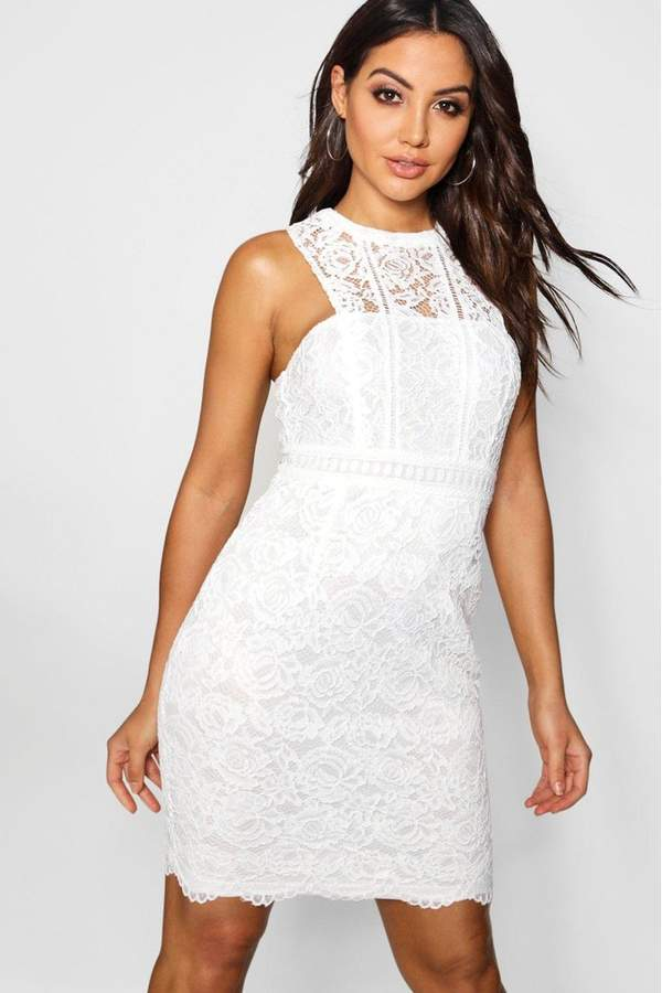 boohoo Womens Lace Halter Bodycon Dress - White