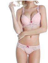 Meiruian Sexy Women Lace Underwear Push Up Bra Sets & Panty Thin Underwire Bra