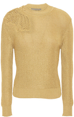 Alberta Ferretti Pointelle-trimmed Metallic Ribbed-knit Sweater