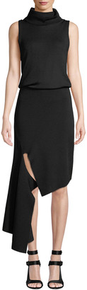 Alice + Olivia Hollis Mock-Neck Cascade Dress