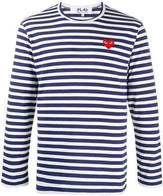 Comme des Garcons heart applique striped T-shirt