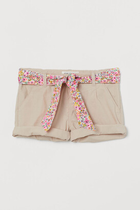 H&M Belted Cotton Shorts - Beige
