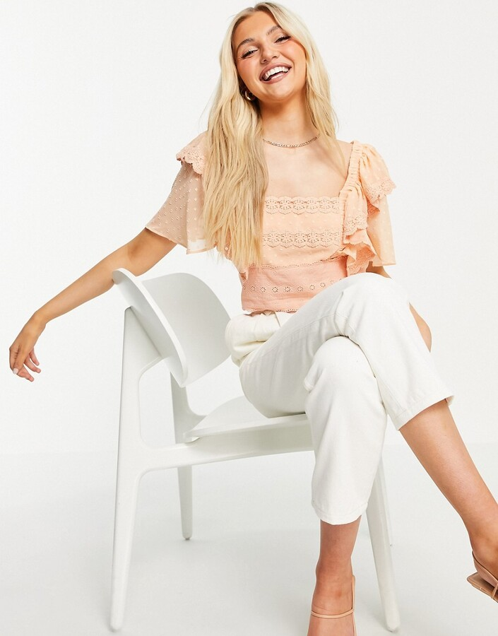 Thumbnail for your product : Hope & Ivy broderie frill sleeve crop top in peach