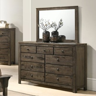 Three Posts Teignmouth Weathered Distressed 9 Drawer Double Dresser with Mirror