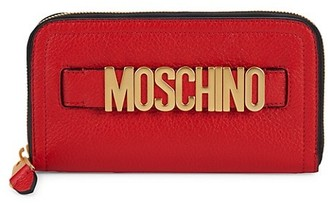 Moschino Logo Pebbled Leather Zip-Around Long Wallet