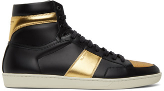 Saint Laurent Black and Gold Court Classic SL/10H High-Top Sneakers
