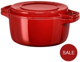 KitchenAid Professional Series 28cm Round Cast Iron Casserole Pot - Red