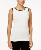 Charter Club Contrast-Trim Knit Shell, Only at Macy's