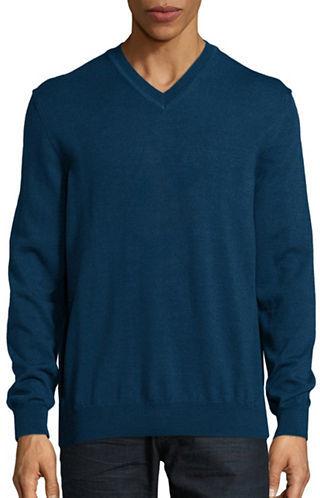 Black Brown 1826 Merino Wool V-Neck Sweater