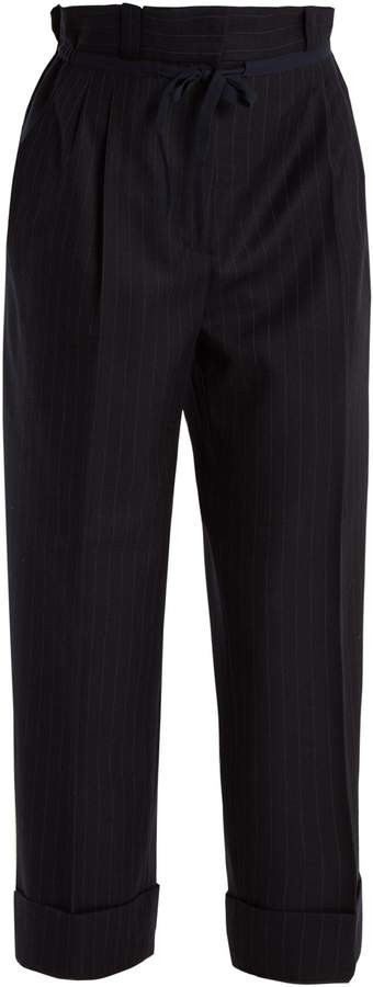 Acne Studios Tien pinstriped gathered-waist wool trousers