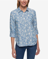 Tommy Hilfiger Floral-Print Roll-Tab Shirt, Created for Macy's