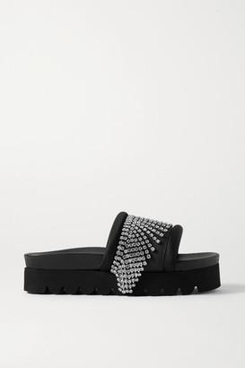 Area Crystal-embellished Satin-trimmed Rubber Platform Slides - Black