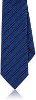 Barneys New York Men's Striped Silk Chambray Necktie-BLUE