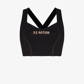 P.E Nation Elevation logo print sports bra