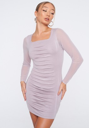Missguided Lilac Knit Ruched Front Mini Dress