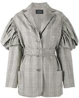 Simone Rocha Prince of Wales checked jacket - women - Cotton/Linen/Flax/Spandex/Elastane/Acetate - 6