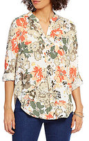 Intro Y-Neck 3/4 Roll-Tab Sleeve Floral Print Popover Top