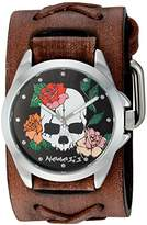 Nemesis 'Skull and Roses Series' Quartz Stainless Steel and Leather Watch, Color:Brown (Model: DSFX933K)