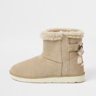 River Island Womens Brown suede quilted faux fur lined boots