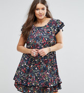Koko Plus Skater Dress With Frill Hem In Garden Floral Print