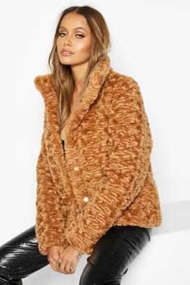 boohoo Premium Textured Faux Fur Puffer