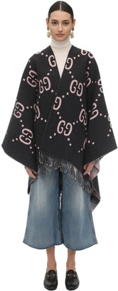 Gucci GG EMBROIDERED WOOL PONCHO