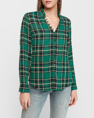 Express Slim Plaid Ruffle Collar Portofino Shirt