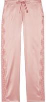 I.D. Sarrieri Chantilly Lace-paneled Silk-blend Satin Pajama Pants - Blush