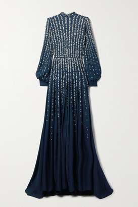 Oscar de la Renta Embellished Metallic Fil Coupe Silk-chiffon Gown - Navy