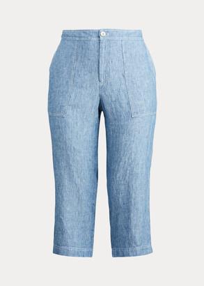 Ralph Lauren Chambray Linen Wide-Leg Pant
