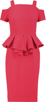 Raoul Sloane cold-shoulder crepe peplum midi dress
