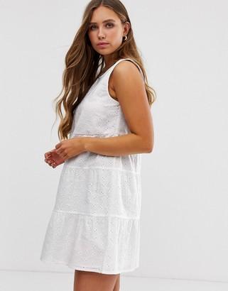 ASOS DESIGN sleeveless tiered mini smock dress in broderie