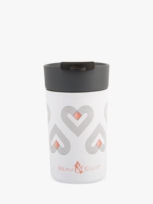 Beau & Elliot Vibe Hearts Insulated Travel Mug, 300ml, White/Multi