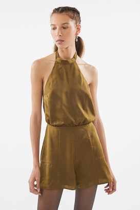 Urban Outfitters Satin Backless Halter Romper