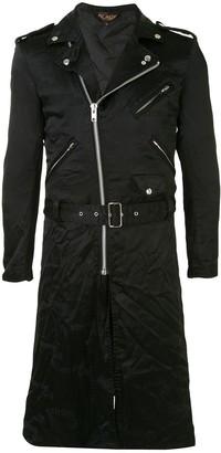 Black Comme Des Garçons Satin Longline Moto Jacket