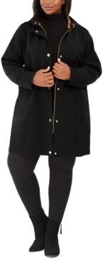 Via Spiga Plus Size Hooded Raincoat, Created for Macy's