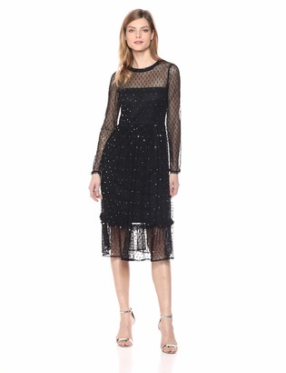 AVEC LES FILLES Women's Metallic Dot Dress with Ruffled Hem