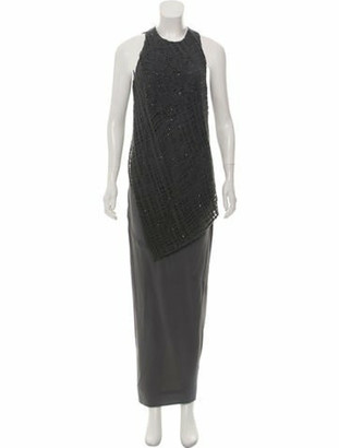 Brunello Cucinelli Crochet Trim Silk Dress Grey