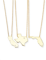 Moon and Lola Personalized State Pendant Necklace, Gold, Alabama-Mississippi