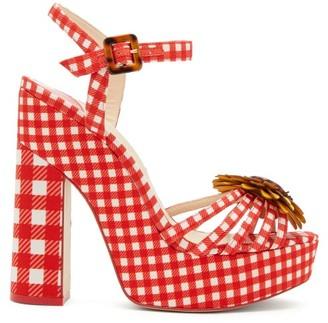 Sophia Webster Doris Leather-trim Gingham Platform Sandals - Womens - Red Multi